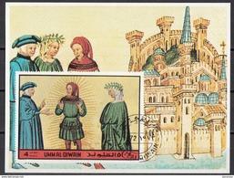 Umm Al Qiwain 1972 Dante Cacciaguida Beatrice Commedia Paradiso XV Miniatura Illustrazione Incorrotta Firenze - Religione