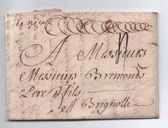 """1738 - LETTRE De TURIN Avec MARQUE MANUSCRITE """"DE NICE"""" (ALPES MARITIMES) Pour BRIGNOLES (VAR) - 1701-1800: Précurseurs XVIII"""