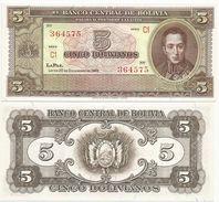 Bolivia 5 Bolivianos 1945. UNC - Bolivia