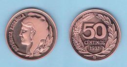 VERY RARE!!! SPAIN / 2º REPUBLIC(1.931-1.939) 50 Céntimos 1.937 Tipo 1-Típico  Aledón 196 PM1 Réplica SC/UNC T-DL-12.164 - [ 2] 1931-1939 : Repubblica