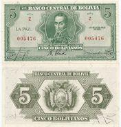 Bolivia 5 Bolivianos 1928. UNC - Bolivia
