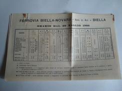 FERROVIA BIELLA-NOVARA. ORARIO - ITALIA, ITALY, PIEMONTE, 1960. - Railway