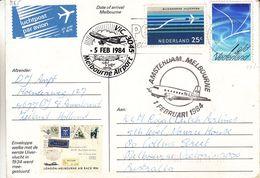 Pays Bas - Carte Postale De 1984 - Oblit Roosendaal - Vol Amsterdam  Melbourne - Cachet Melbourne Airport - Periode 1980-... (Beatrix)