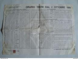 STRADE FERRATE SARDE. ORARIO TRENI - ITALIA, ITALY, SARDEGNA,  1961. 52X37 CM POSTER. - Ferrovie