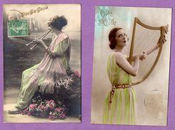 Vive Sainte Cecile Fetes Fete  Instrument De Musique - Le Lot De 2 Cartes - Otros