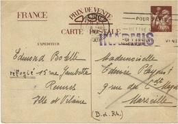 1940- E P Interzone   Iris Sans Valeur De Rennes  Pour Marseille Avec INADMIS ( Type Hourriez Lisible ) - Marcophilie (Lettres)