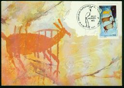 Mk Brazil Maximum Card 1985 MiNr 2108 A | Brapex VI National Stamp Exhibition, Belo Horizonte, Rock Paintings, Deer - Maximum Cards
