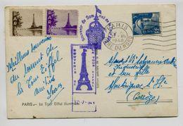 TOUR EIFFEL -  Carte Postale La Tour Eiffel Illuminée + Cachet Violet + 2 Vignettes - Monuments