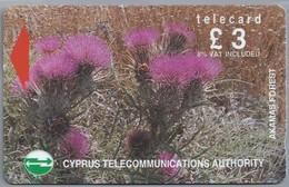 CY.- Telefoonkaart. Cyprus Telecommunications Authority. Akamas Forest. £ 3 - Telecard. 2 Scans - Bloemen