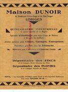 87- LIMOGES- PUBLICITE MAISON DUNOIR-21 BD. VICTOR HUGO 22 RUE TURGOT-QUINCAILLERIE INDUSTRIELLE-ZINC-IMPRIMERIE RIVET - Publicités