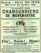 16- CONFOLENS-RARE PROGRAMME CHANSONNIERS MONTMARTRE-SALLES DES FETES 28-10-1936-BERTIER-GRELLO-LABORDE-GOULEBENEZE- - Programmi