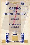 33- BORDEAUX- RARE PROGRAMME OFFICIEL CASINO DES QUINCONCES-1933-HOTCHKISS-TREBUC-LATASTE-VALMY-VALAIRE-NERCY-STEVILLE- - Programmi