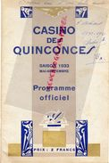 33- BORDEAUX- RARE PROGRAMME OFFICIEL CASINO DES QUINCONCES-1933-HOTCHKISS-TREBUC-LATASTE-VALMY-VALAIRE-NERCY-STEVILLE- - Programs