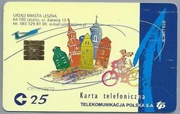 PL.- Telefoonkaart. LESZNO. Karte Telefoniczna. URZAD MIASTA LESZNA. TP. OTO LUBLIN. Fiets. Torens. 2 Scans - Polen