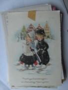 Kinderen Children Enfants Kinder Boy And Girl Traditional Clothes In The Snow - Kindertekeningen