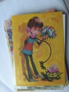 Kinderen Children Enfants Kinder Nice Girl With Flowers And Telephone - Kindertekeningen