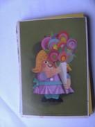 Kinderen Children Enfants Kinder Girl With Flowers In Green - Kindertekeningen