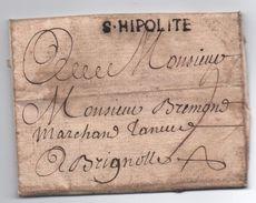 """1749 - RARE LETTRE De SAINT ST HIPPOLYTE (GARD) Avec MP LENAIN N° 2 """"S. HIPOLITE"""" Pour BRIGNOLES (VAR) - Marcophilie (Lettres)"""