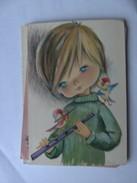Kinderen Children Enfants Kinder Child With Birds And Flute - Kindertekeningen