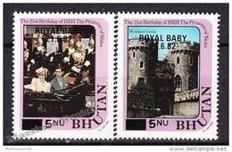 Bhutan - Bhoutan 1982 Yvert 589- 90, 21th Birthday Of HRH The Princess Of Wales - Royal Baby Overprint - MNH - Bhután