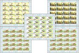 Rwanda 1281...** 90F Akagera III -MNH- 5 Sheet / Feuilles De 20 - Dessin De Buzin - 1980-89: Neufs