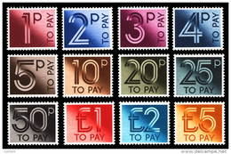 ~~~ Great Britain 1982 - Postage Due Complete Set Incl. High Values- Mi. 89/100 ** MNH - CV. 30.00 Euro ~~~ - Strafportzegels