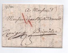 1783 - LETTRE De MILANO Pour BRIGNOLES (VAR) Avec TAXE ROUGE 4 RECTIFIEE - Italie