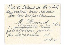 CARTE DE VISITE MILITAIRE M. BERNARD LIEUTENANT-COLONEL AU 5e REGIMENT DE CUIRASSIERS - Cartes De Visite
