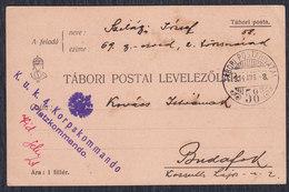 Austria Hungary K.u.k. 4. Korpskomando 1914 Tabori Post Office 58 - 1850-1918 Empire
