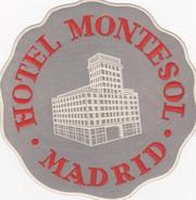 SPAIN ESPAÑA -  HOTEL LUGAGGE  LABEL - HOTEL MONTESOL - MADRID - Etiketten Van Hotels