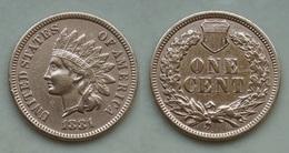 USA 1 Cent Indian Head 1881 Seltene Jahr ! Sehr Schön !     (R431) - Federal Issues