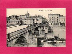 """91 Essonne, Corbeil, Le Pont, Animée, Bateau """"service De Paris"""", (H. S.) - Corbeil Essonnes"""