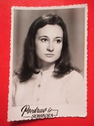 W3-Vintage Photo Snapshot-Dark Hair Girl In A White Sweater - Anonymous Persons