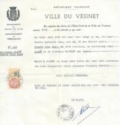 LE VESINET Acte D Etat Civil CADRE Pierre Jean Rene Marie A TARBES , Extrait Casier Judi..et Un Timbres Communal  N13 - Seals Of Generality