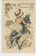 """FEMMES - FRAU - LADY - Jolie Carte Fantaisie Coquine Femme Sur Un âne """"On Te Sait Très Experte à Faire La Culbute...."""" - Femmes"""