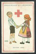 """+++ CPA - Carte Fantaisie - CROIX ROUGE De La Jeunesse - Illustrateur M. Salzedo - """"Soyons Amis""""   // - Croix-Rouge"""