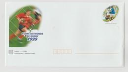 """France : PAP : SUPERBE ENVELOPPE + LETTRE COUPE DU MONDE DE RUGBY 1999 EN FRANCE - """"LUXE"""" - - Entiers Postaux"""