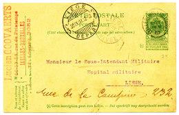 BRUGSTEMPEL 1907 POSTKAART TYPE COB56 V. IXELLES(BLd MILITAIRE) N. LIEGE DEPART (ook LIEGE ARRIVEE) ZIE SCAN(S) - Stamped Stationery
