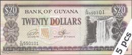 TWN - GUYANA 30f - 20 Dollars 2016 DEALERS LOT X 5 - Prefix C/38 - Signatures: Ganga & A. Singh UNC - Guyana