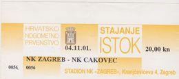 NK  ,, ZAGREB ,, Vs  NK  .. CAKOVEC ,, --  FOOTBALL TICKET  --  2001 - Eintrittskarten