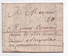 1738 - LETTRE De SAINT ETIENNE (LOIRE) Avec MP LENAIN N° 1 A SEC Pour BRIGNOLES (VAR) - 1701-1800: Precursors XVIII