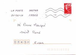 Enveloppe Oblitération LA POSTE 38276A 24/02/2009 - Sellado Mecánica (Otros)