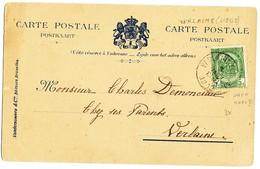 "1908 FOTOKAART ""PALAIS DE S.A.R. PRINCE ALBERT..."" MET COB83 V. VERLAINE(LIEGE) N. VERLAINE ZIE SCAN(S) - Entiers Postaux"