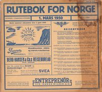Dienstregeling Horaire Chemins De Fer - Treingids - Rutebok For Norge - Noorwegen 1950 - Europe