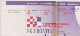 NK  ,, CROATIA ,,   ZAGREB  Vs  HNK  .,  HAJDUK  ,,   SPLIT   --  FOOTBALL TICKET  --  1995 - Eintrittskarten