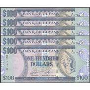 TWN - GUYANA 36b2 - 100 Dollars 2012 DEALERS LOT X 5 - Prefix B/62 - Signatures: Williams & A. Singh UNC - Guyana