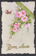 CPA FANTAISIE CELLULOID DENTELEE DORURE OR Art Nouveau Déco - Peinte à La Main - Bel Oiseau Fleurs - Bonne Année -#575 - New Year