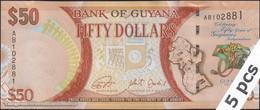 TWN - GUYANA 41 - 50 Doll. 2016 DEALERS LOT X 5 - 50th Ann. Of Independence - Prefix AA - Signatures: Ganga & Jordan UNC - Guyana