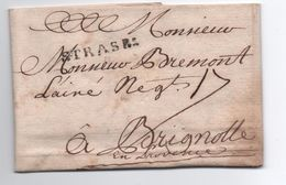 1749 - LETTRE De STRASBOURG (BAS RHIN) Avec MP LENAIN N° 13 Pour BRIGNOLES (VAR) - 1701-1800: Precursors XVIII