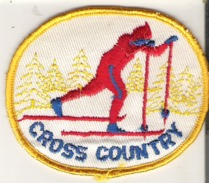 """Cross Country Patch Badge 9 Cm X 7.2 Cm  3.6"""" X 2.8"""" Yellow Red And Blue - Winter Sports"""